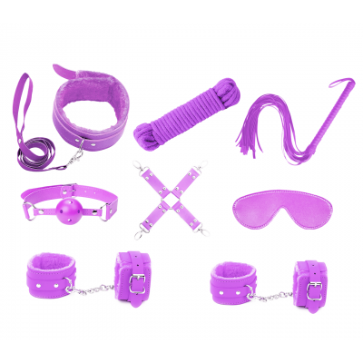 love in leather Faux Leather Lined 9 Piece Bondage Kit Purple KIT002PUR 1192000116214