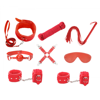 Love in leather Faux Leather Lined 9 Piece Bondage Kit Red KIT002RED 1192000118546